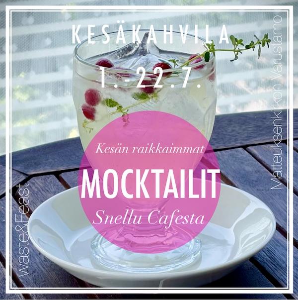 Juoma lasissa, koristeena puolukoita ja timjaminoksa. Snellu Cafen mainos läpinäkyvänä kuvan päällä